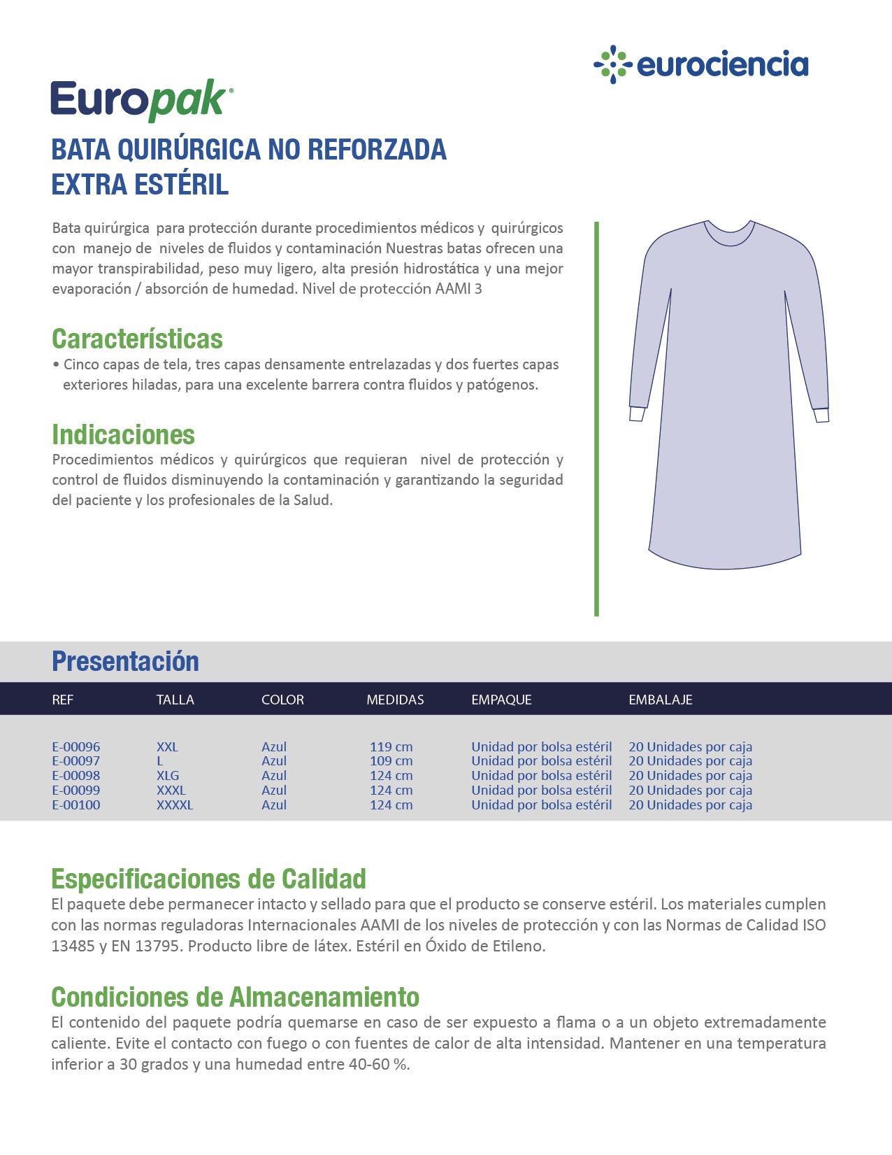 Ropa Quirurgica Descartable Eurociencia Colombia